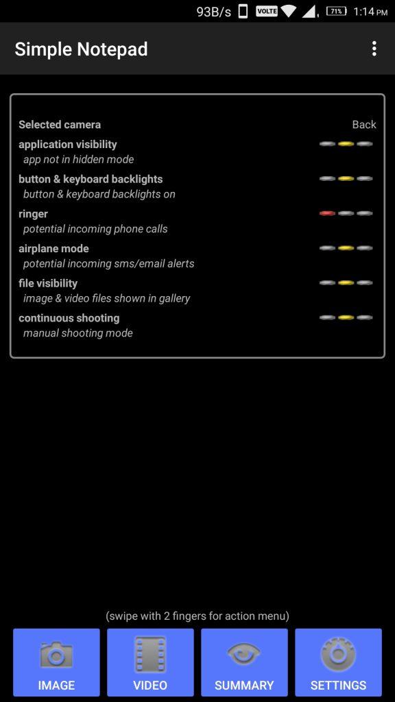 Mobile Hidden Camera Main Menu