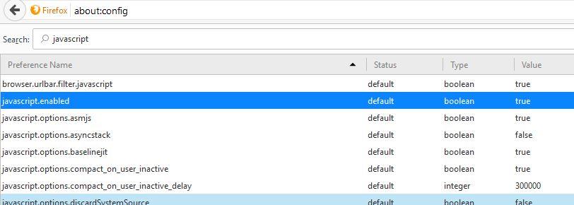 Disable JavaScript in Mozilla