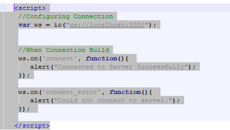 Web Socket connection to Server using Socket.io and HTML (Windows)