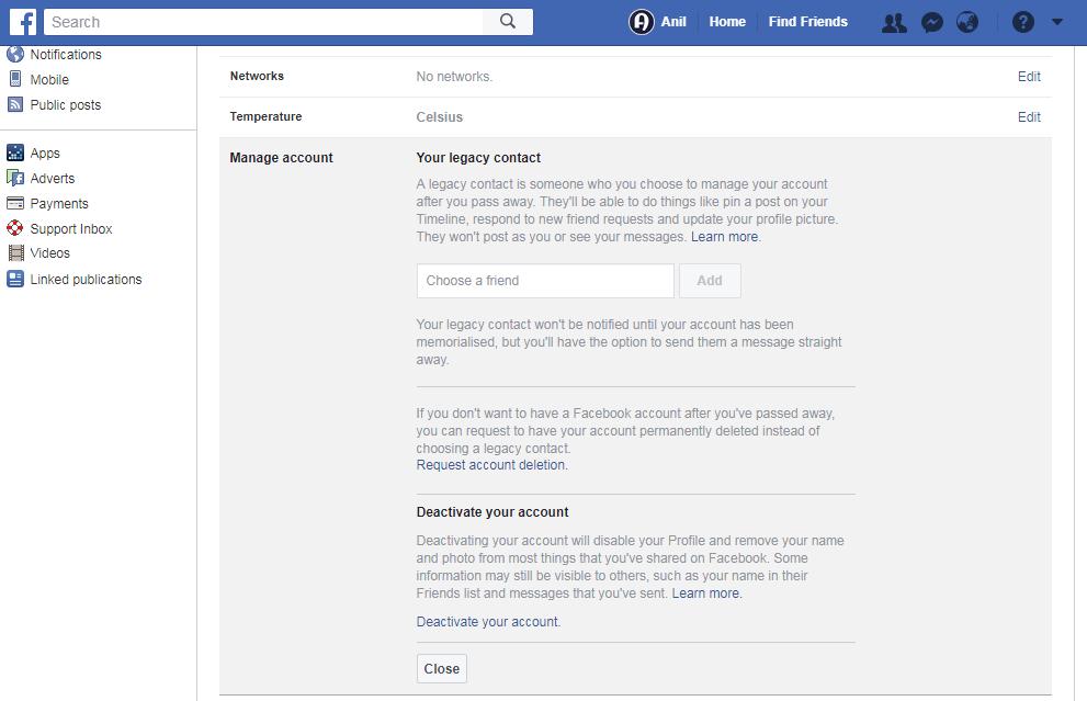 Transfer Facebook Account