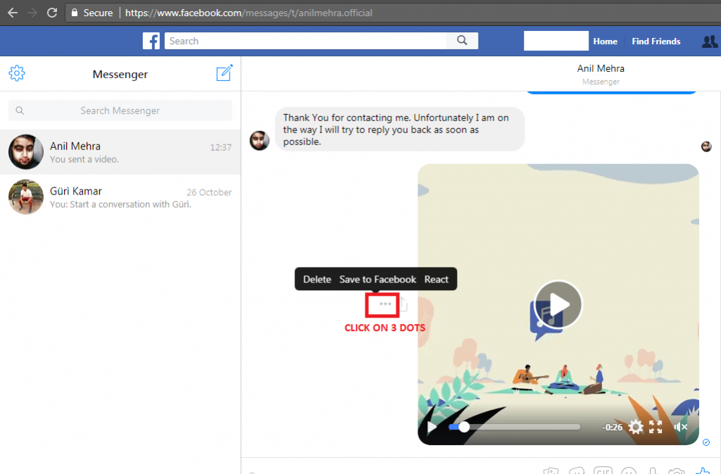 Download Facebook video that you receive or send in Inbox on computer