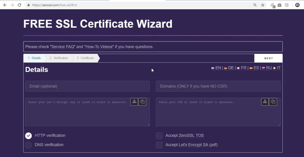 Free SSL Generate Form