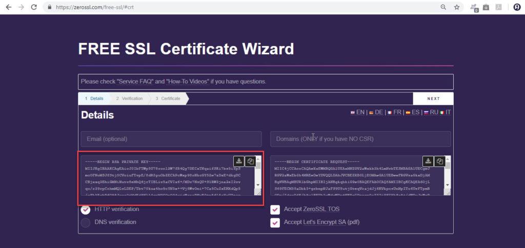 Generated RSA Key