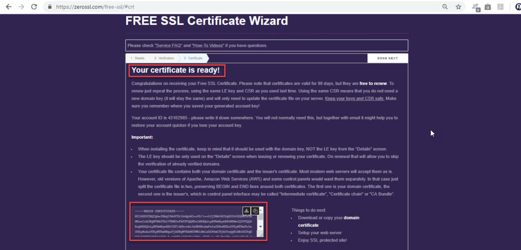 SSL Certificate Ready