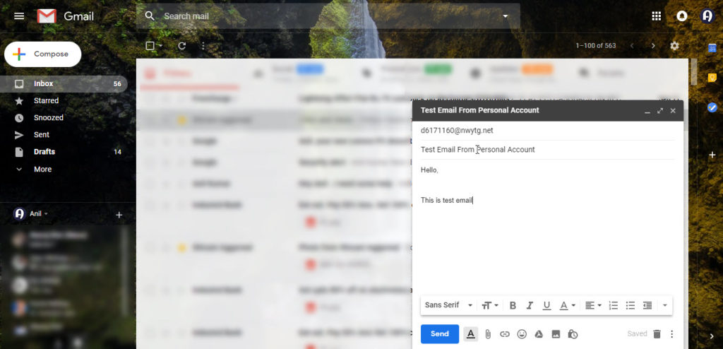 Send test email to disposable email