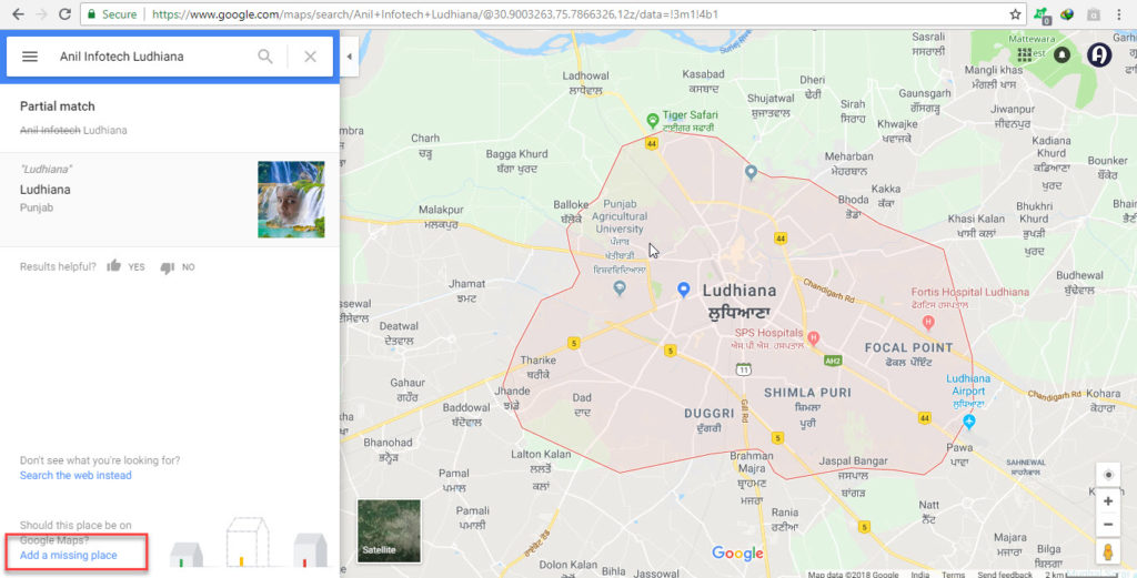 Company in Google Map