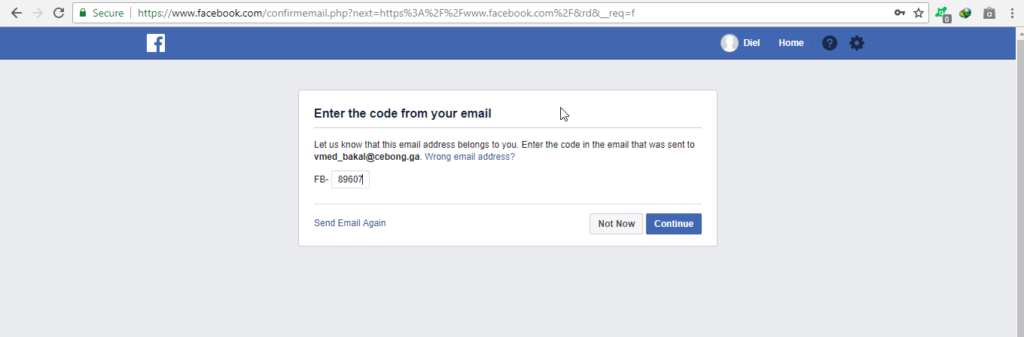 Verifying Facebook with Temp Email