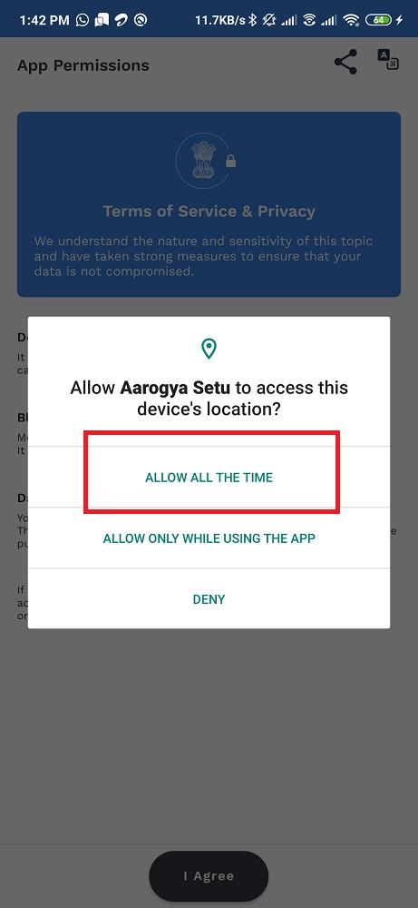 Aarogya App Permission