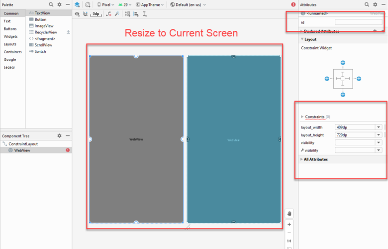 Default Resize of Web View Element