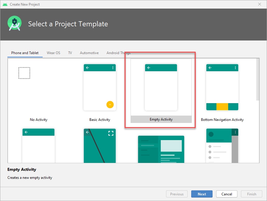 Select Project Template