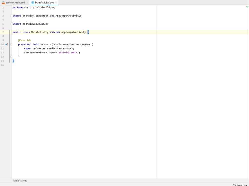 Start Up Screen of Project Development